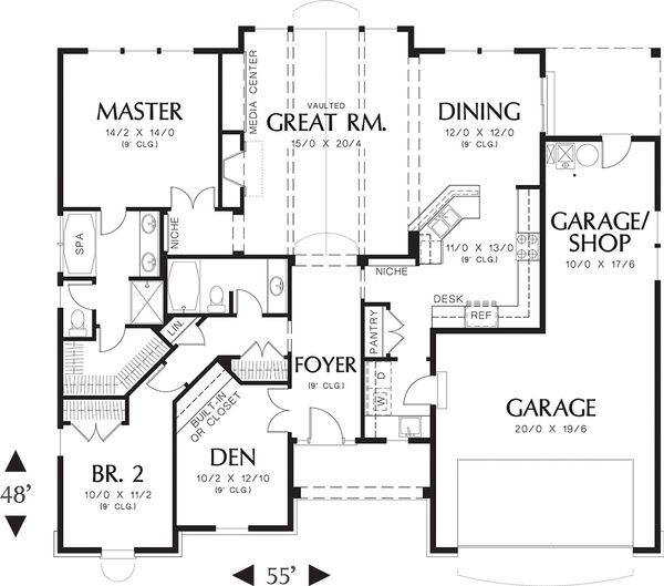 House Design - Craftsman style house plan, main level floor plan