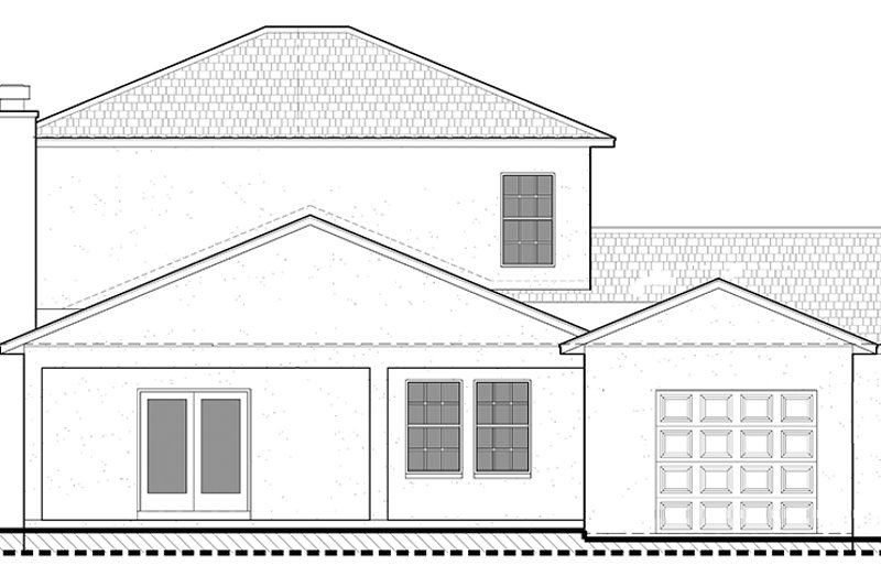 Colonial Exterior - Rear Elevation Plan #1058-132 - Houseplans.com