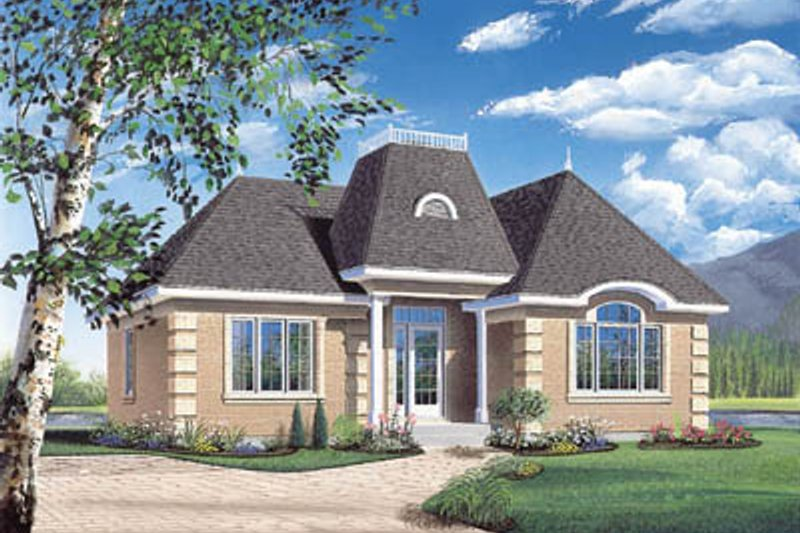 European Exterior - Front Elevation Plan #23-180