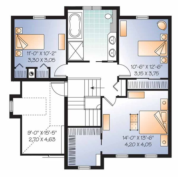 Country Floor Plan - Upper Floor Plan Plan #23-2542