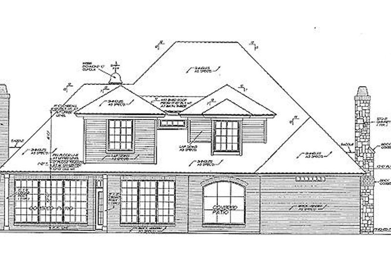 European Exterior - Rear Elevation Plan #310-880 - Houseplans.com