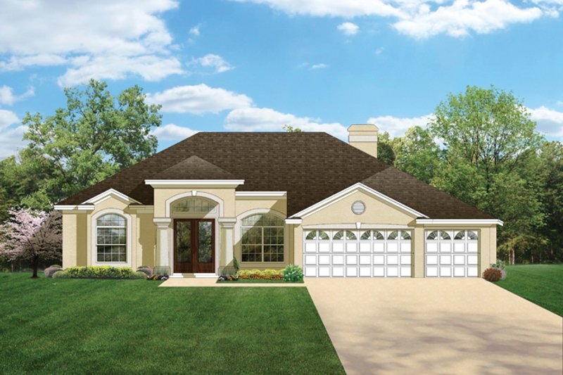 Mediterranean Exterior - Front Elevation Plan #1058-46 - Houseplans.com