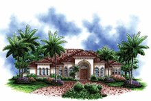 Architectural House Design - Mediterranean Exterior - Front Elevation Plan #1017-145