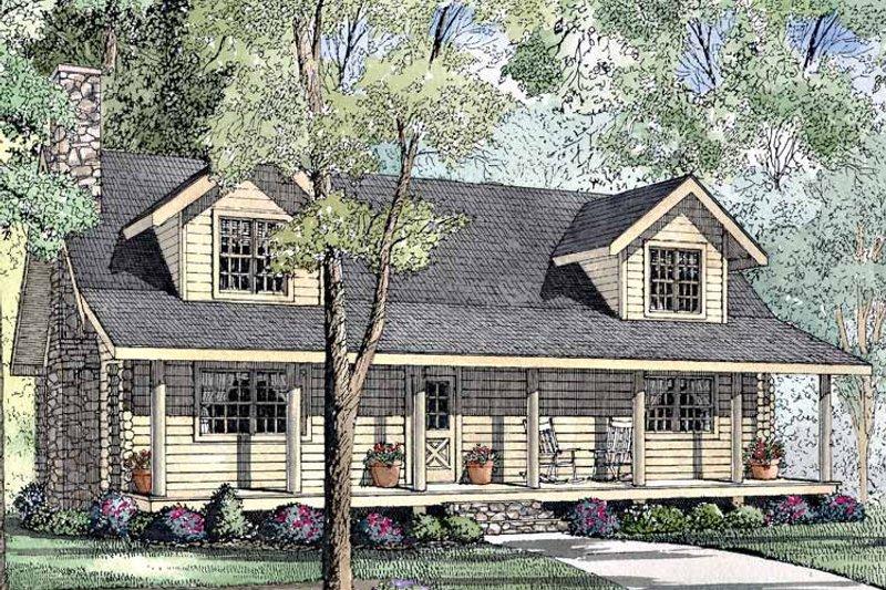 Log Exterior - Front Elevation Plan #17-3073 - Houseplans.com