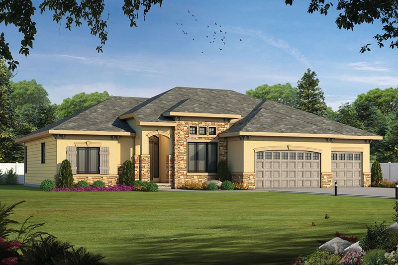 Ranch Style House Plan - 1 Beds 1.5 Baths 2292 Sq/Ft Plan #20-2306 Exterior - Front Elevation