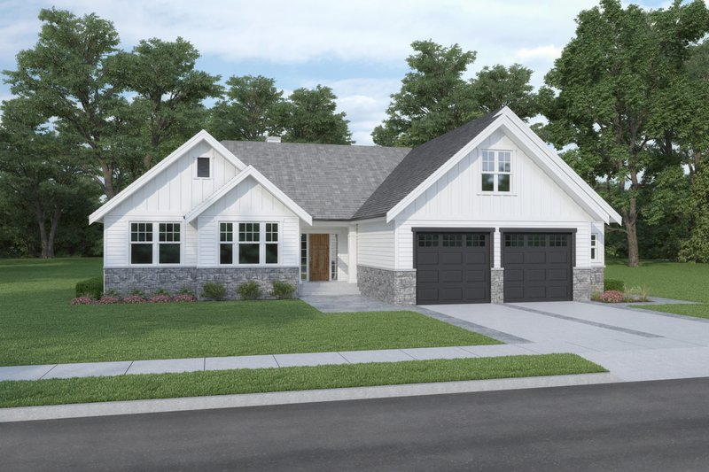 Craftsman Style House Plan - 3 Beds 2 Baths 1913 Sq/Ft Plan #1070-109 Exterior - Front Elevation