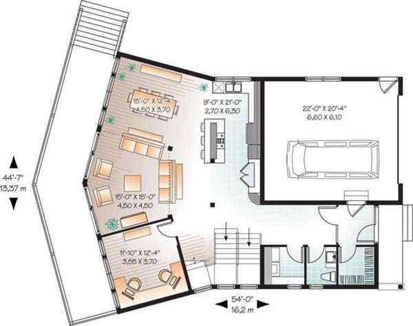 Contemporary Floor Plan - Main Floor Plan Plan #23-2460