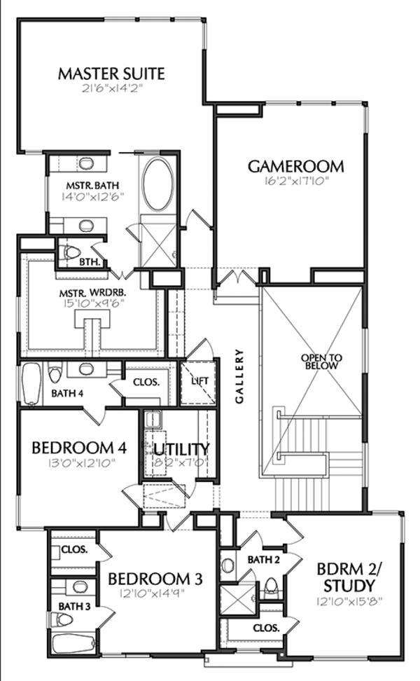 Contemporary Floor Plan - Upper Floor Plan Plan #1021-12