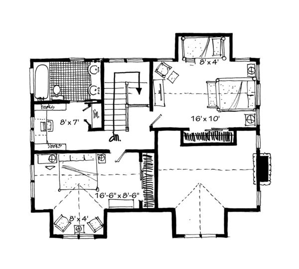 Cabin Floor Plan - Upper Floor Plan #942-33