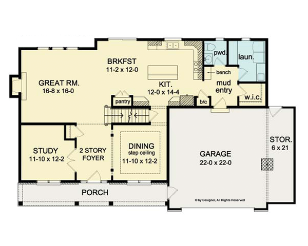 Architectural House Design - Colonial Floor Plan - Main Floor Plan #1010-37