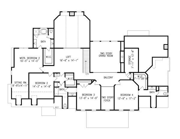 Farmhouse Floor Plan - Upper Floor Plan Plan #54-380