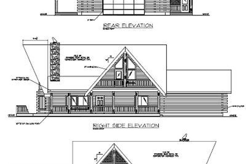Log Exterior - Rear Elevation Plan #117-504 - Houseplans.com