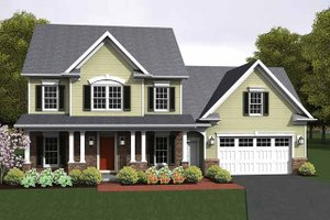 Colonial Exterior - Front Elevation Plan #1010-14