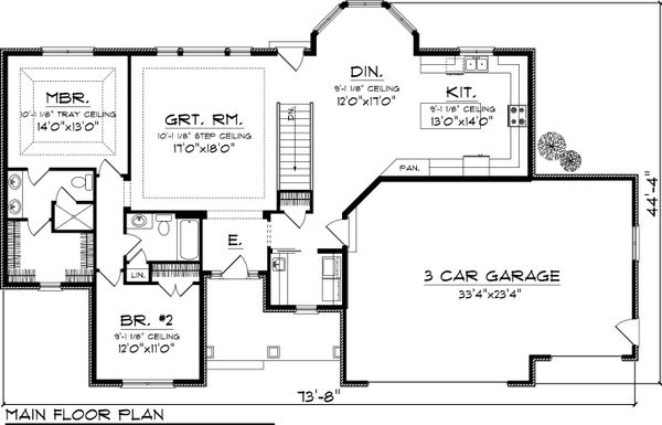 Ranch Floor Plan - Main Floor Plan Plan #70-1046