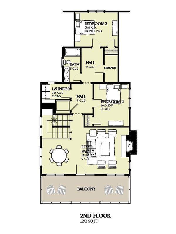 Beach Floor Plan - Upper Floor Plan #901-124