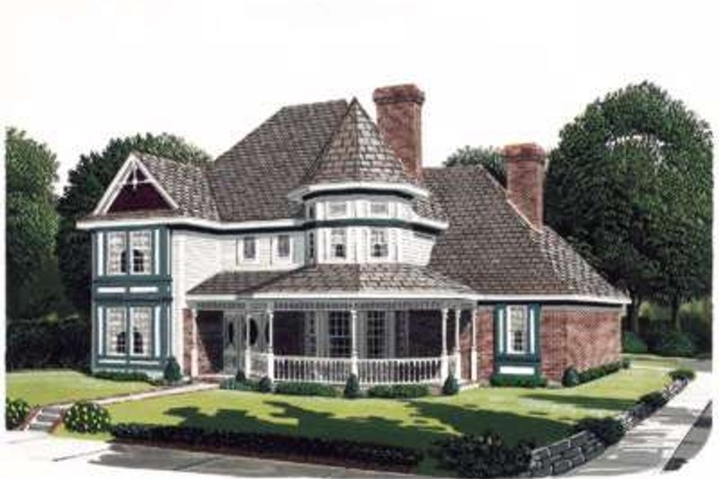 Victorian Style House Plan - 4 Beds 3.5 Baths 3347 Sq/Ft Plan #410-264 Exterior - Front Elevation
