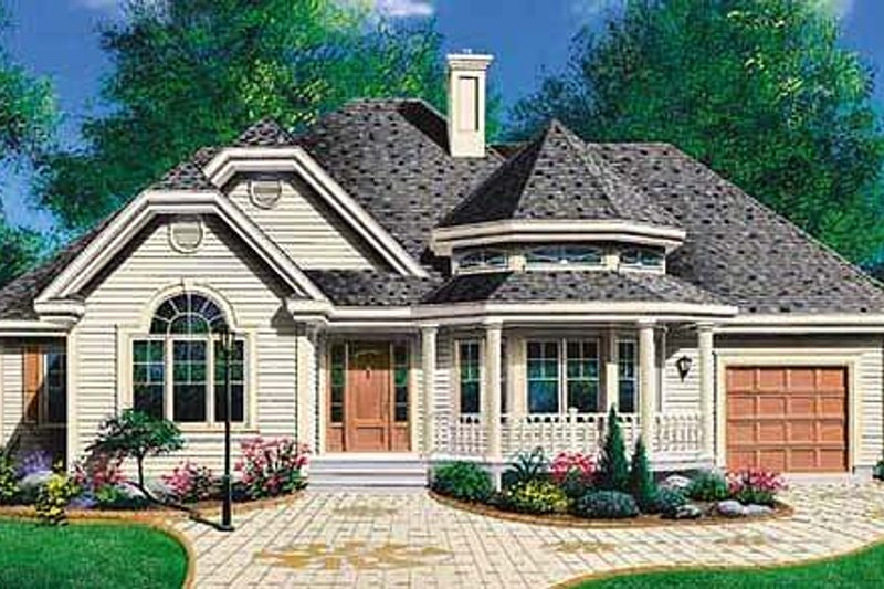 Country Style House Plan - 2 Beds 1 Baths 1191 Sq/Ft Plan #23-1011 Exterior - Front Elevation