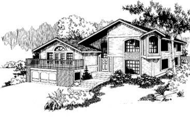 Bungalow Style House Plan - 3 Beds 2.5 Baths 1951 Sq/Ft Plan #60-320 Exterior - Front Elevation