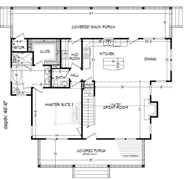 Cabin Floor Plan - Main Floor Plan Plan #932-48