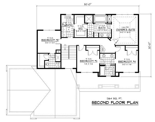 Colonial Floor Plan - Upper Floor Plan Plan #51-280