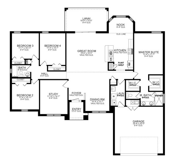 House Blueprint - Ranch Floor Plan - Main Floor Plan #1058-191