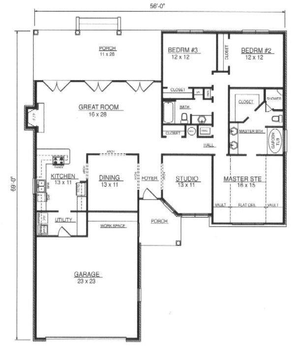 European Floor Plan - Main Floor Plan Plan #14-253