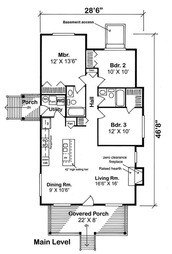 Cottage Floor Plan - Main Floor Plan Plan #312-338