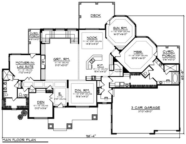 Ranch Floor Plan - Main Floor Plan Plan #70-1232