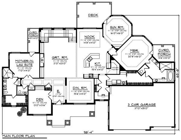 Ranch Floor Plan - Main Floor Plan Plan #70-1232