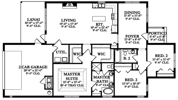 Ranch Floor Plan - Main Floor Plan Plan #1058-138