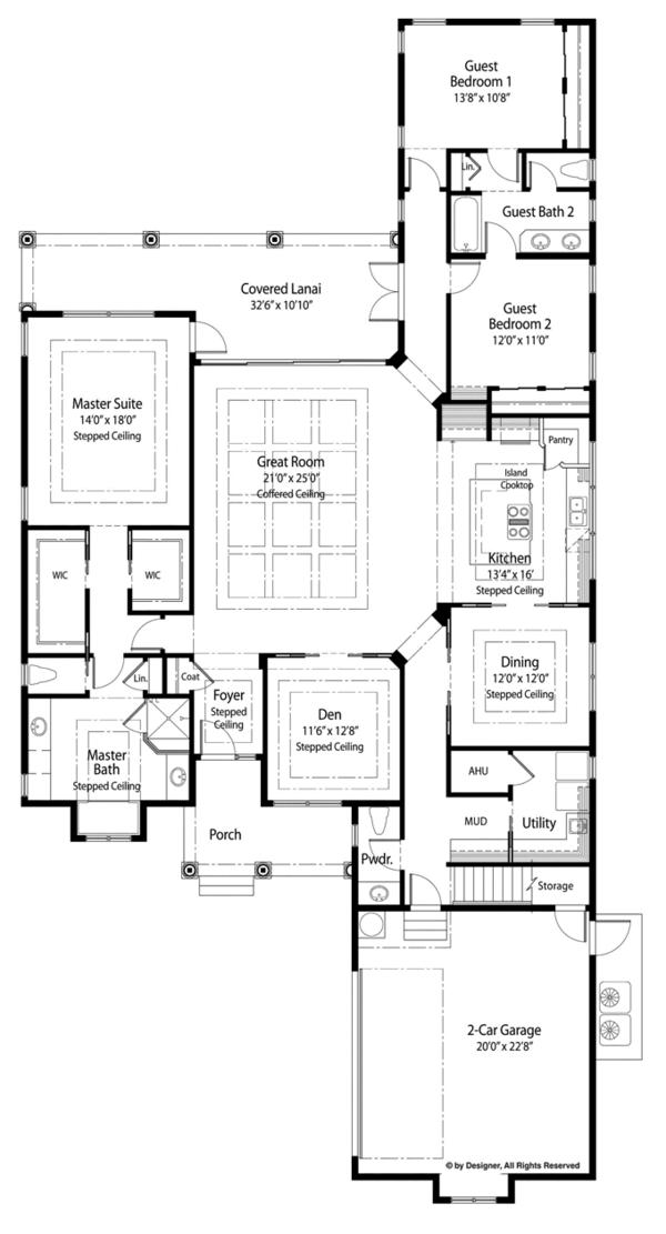 Mediterranean Floor Plan - Main Floor Plan Plan #938-78