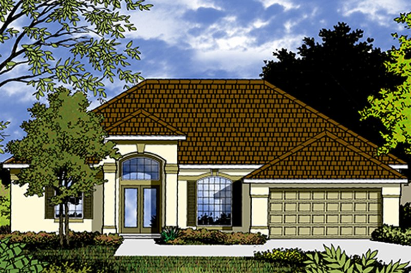Mediterranean Exterior - Front Elevation Plan #417-831 - Houseplans.com