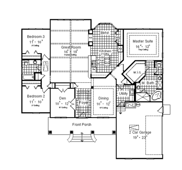 Craftsman Floor Plan - Main Floor Plan Plan #417-797