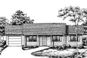 Ranch Style House Plan - 3 Beds 2 Baths 1092 Sq/Ft Plan #30-107