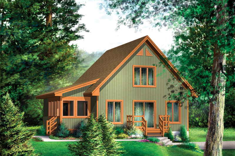 Cabin Style House Plan - 2 Beds 1 Baths 1352 Sq/Ft Plan #25-4411 Exterior - Front Elevation