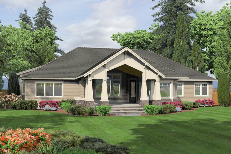 Craftsman Exterior - Rear Elevation Plan #132-205 - Houseplans.com