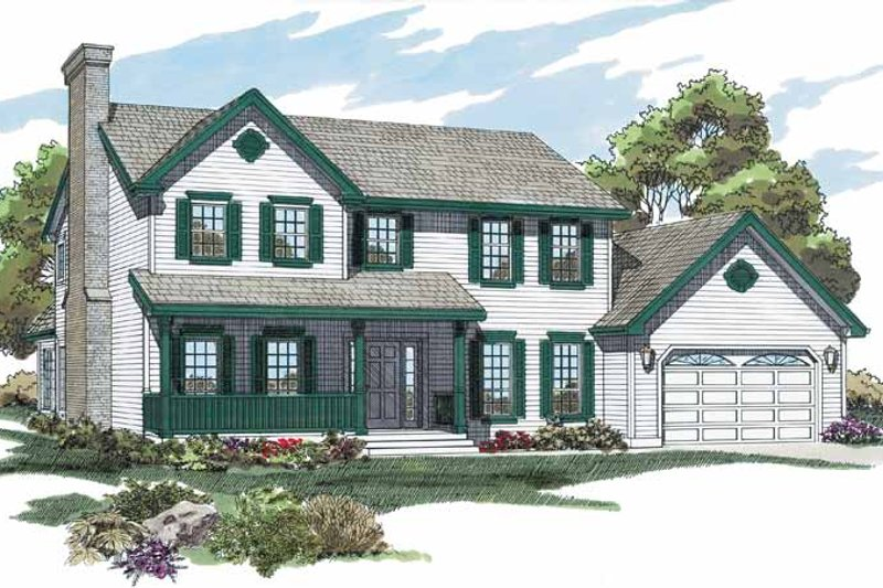 House Blueprint - Colonial Exterior - Front Elevation Plan #47-849