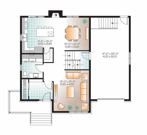 Contemporary Floor Plan - Main Floor Plan Plan #23-2480