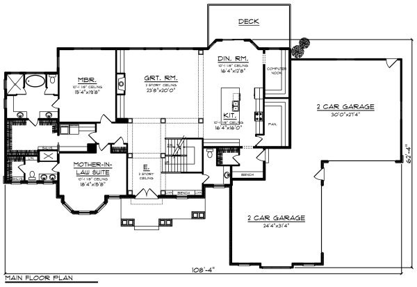 Craftsman Floor Plan - Main Floor Plan Plan #70-1295
