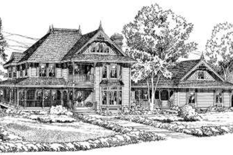 European Style House Plan - 5 Beds 3.5 Baths 2744 Sq/Ft Plan #312-439 Exterior - Front Elevation