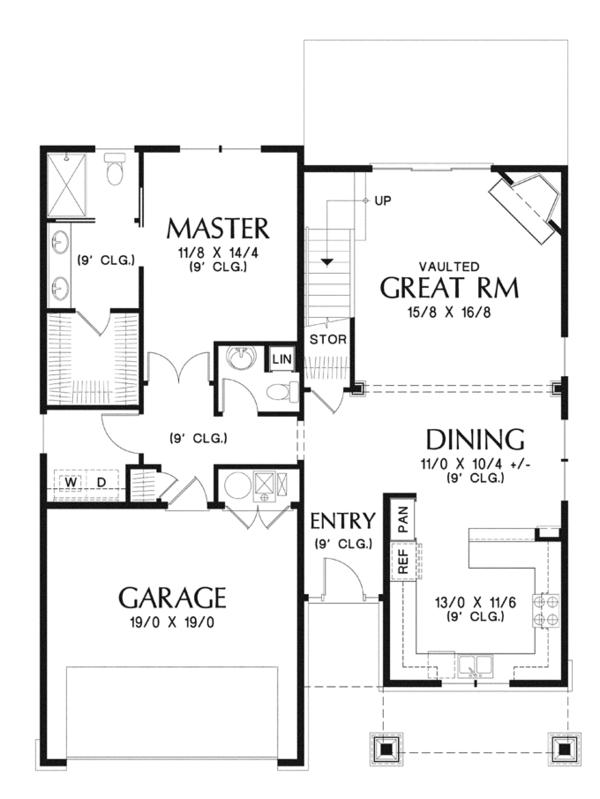 Craftsman Floor Plan - Main Floor Plan Plan #48-901