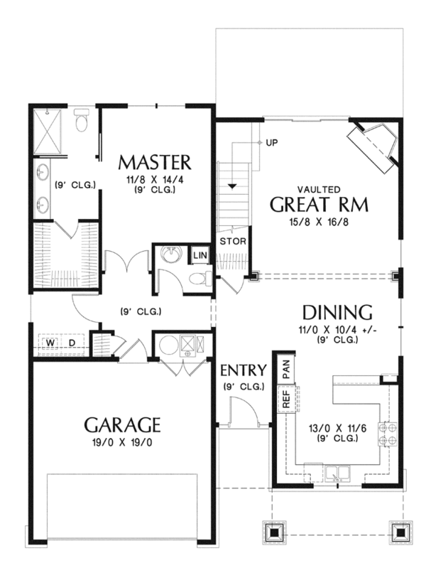 Craftsman Floor Plan - Main Floor Plan Plan #48-901