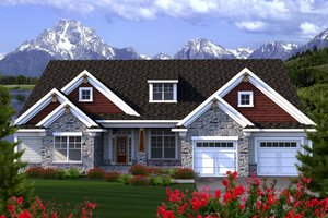 Ranch Exterior - Front Elevation Plan #70-1167