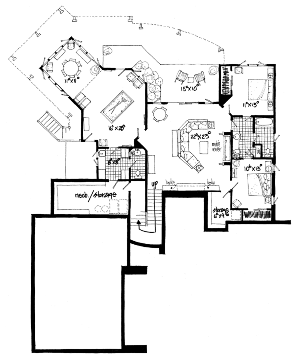 Craftsman Floor Plan - Lower Floor Plan Plan #942-11