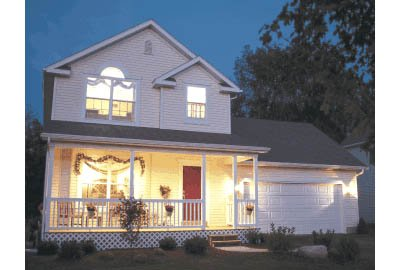 Farmhouse Style House Plan - 3 Beds 2.5 Baths 1297 Sq/Ft Plan #20-2026 Exterior - Front Elevation