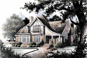 Tudor Exterior - Front Elevation Plan #429-364
