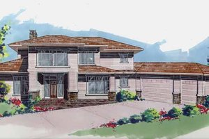 Prairie Exterior - Front Elevation Plan #509-416