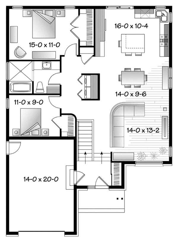 Contemporary Floor Plan - Main Floor Plan Plan #23-2576