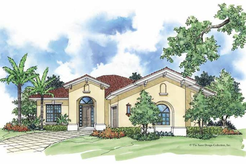 Mediterranean Exterior - Front Elevation Plan #930-383
