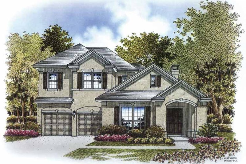 Mediterranean Exterior - Front Elevation Plan #999-173